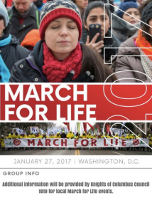Additional information will be provided by Knights of Columbus Council 1819 for local March for Life events.